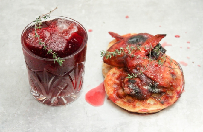, Pomegranate and Raspberry Jam Bourbon paired with Chicken Wings and Waffles with Pomegranate Syrup