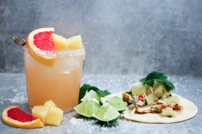 , Grapefruit and Pineapple Margarita with Pineapple Chicken Tacos