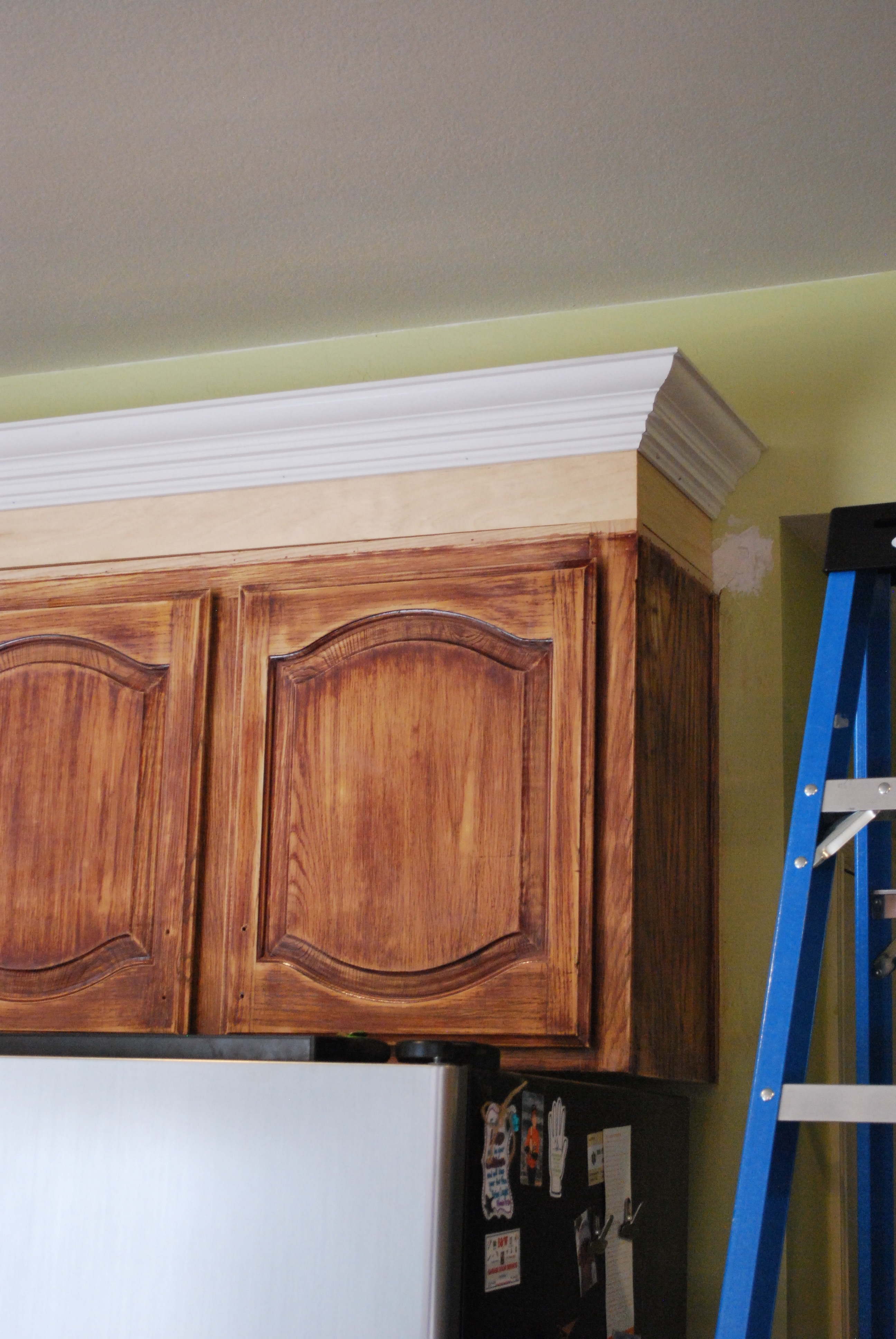 molding on top of kitchen cabinets cabinet storage solutions mostly diy transformation the process