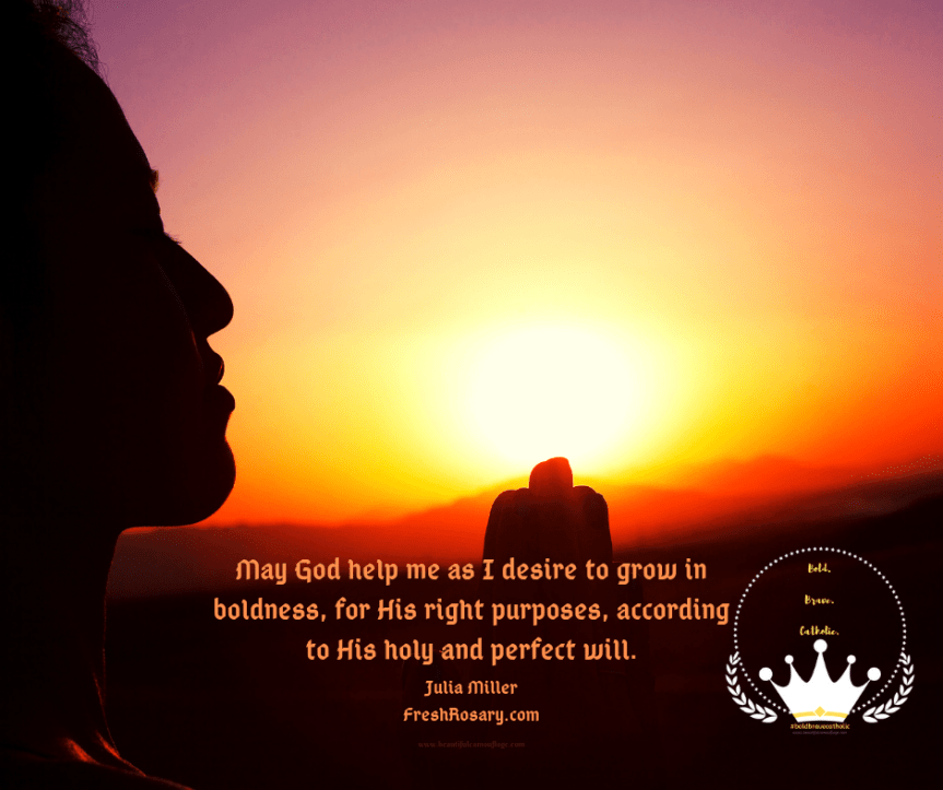 "Silhouette of woman praying with sunrise over prayer hands. Prayer reads ""May God help me as I desire to grow in boldness, for His right purposes, according to His holy and perfect will."" #boldbravecatholic #beautifulcamouflage #faith #catholicism"
