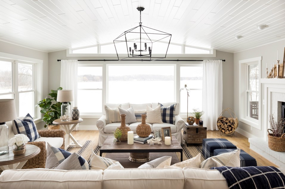 Hamptons Style Living Room Renovation in Orono, Minnesota