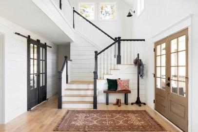 white shiplap staircase