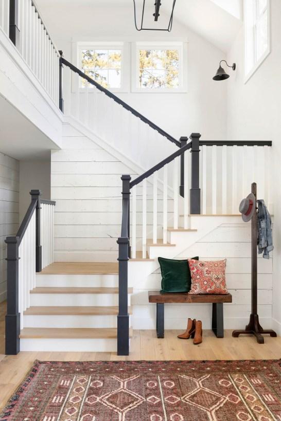 modern white farmhouse staircase design