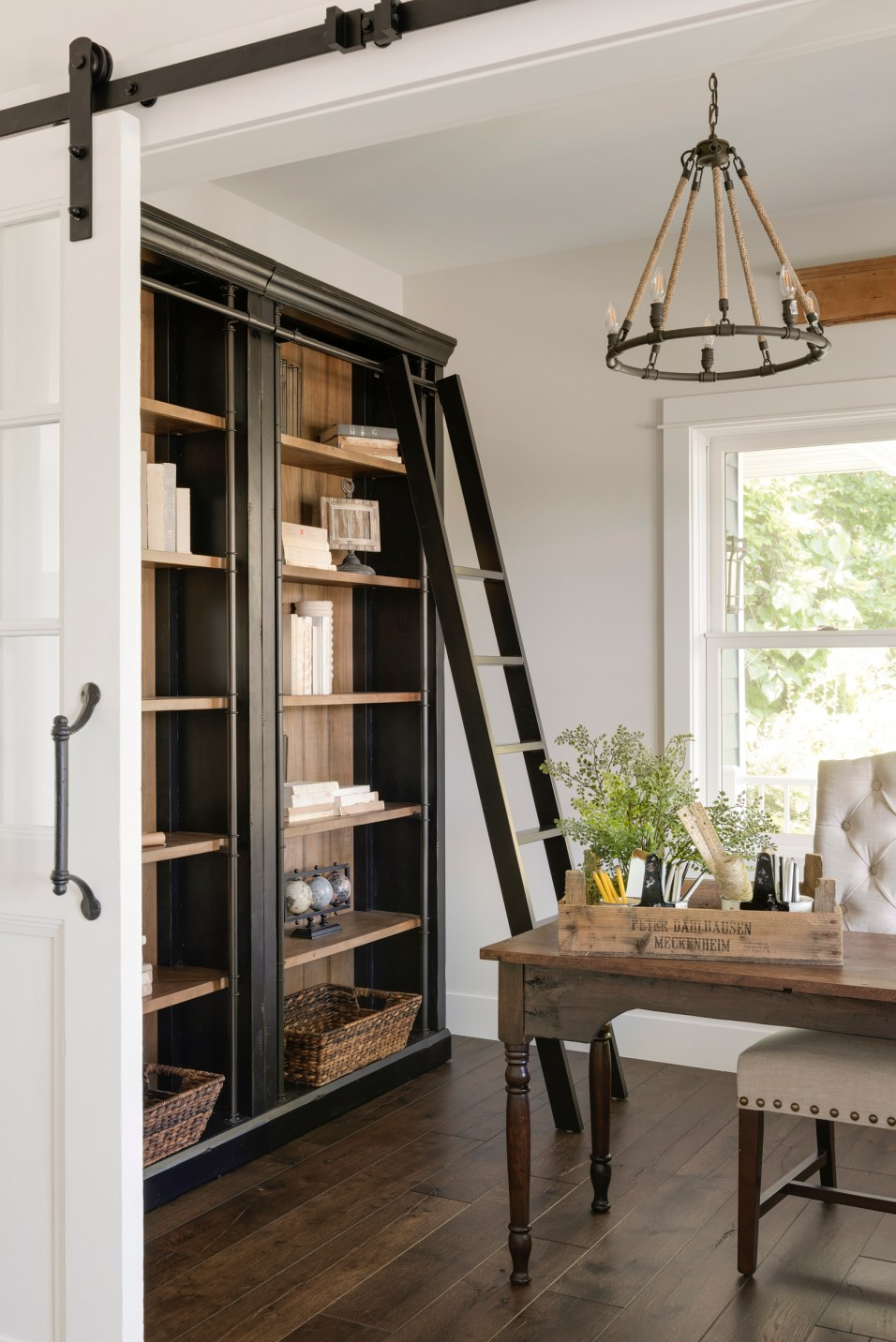 modern french country office, bookcase and chandelier