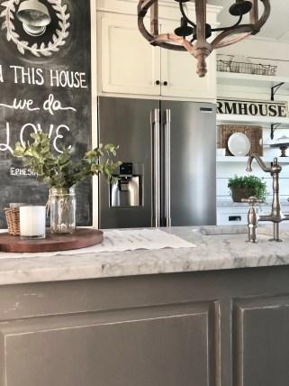 farmhouse kitchen island blackboard