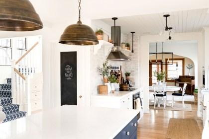 farmhouse kitchen with chalkboard