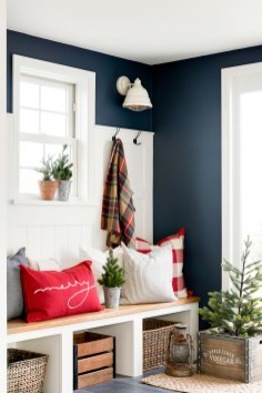 entryway blue walls in country home