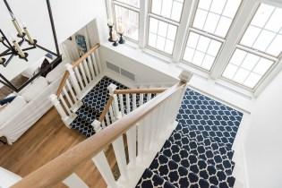 blue staircase runner