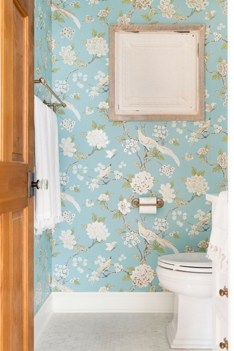 Cottage powder room wallpaper