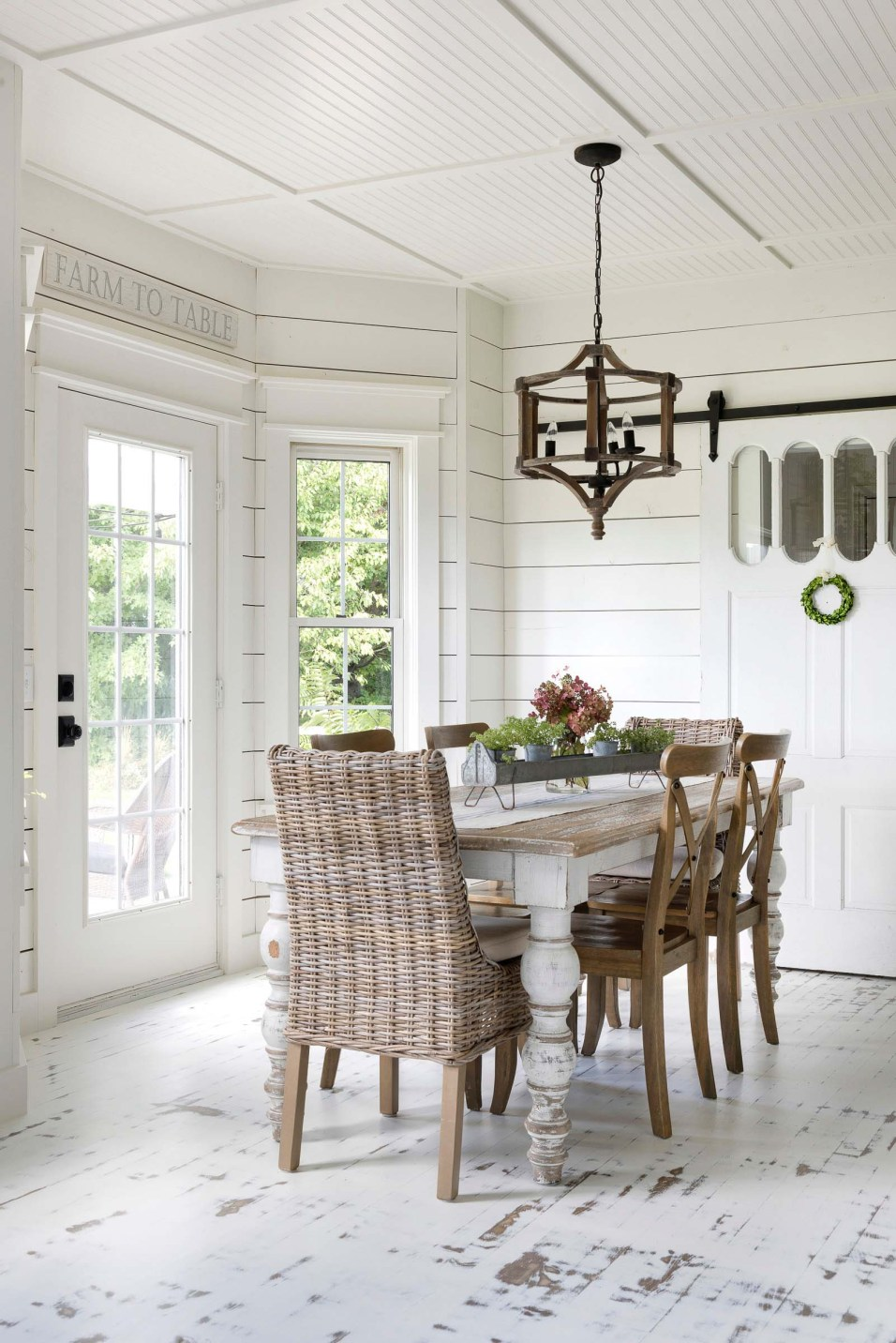 Beautiful Chaos Farmhouse Dining Room with Salvaged Furniture