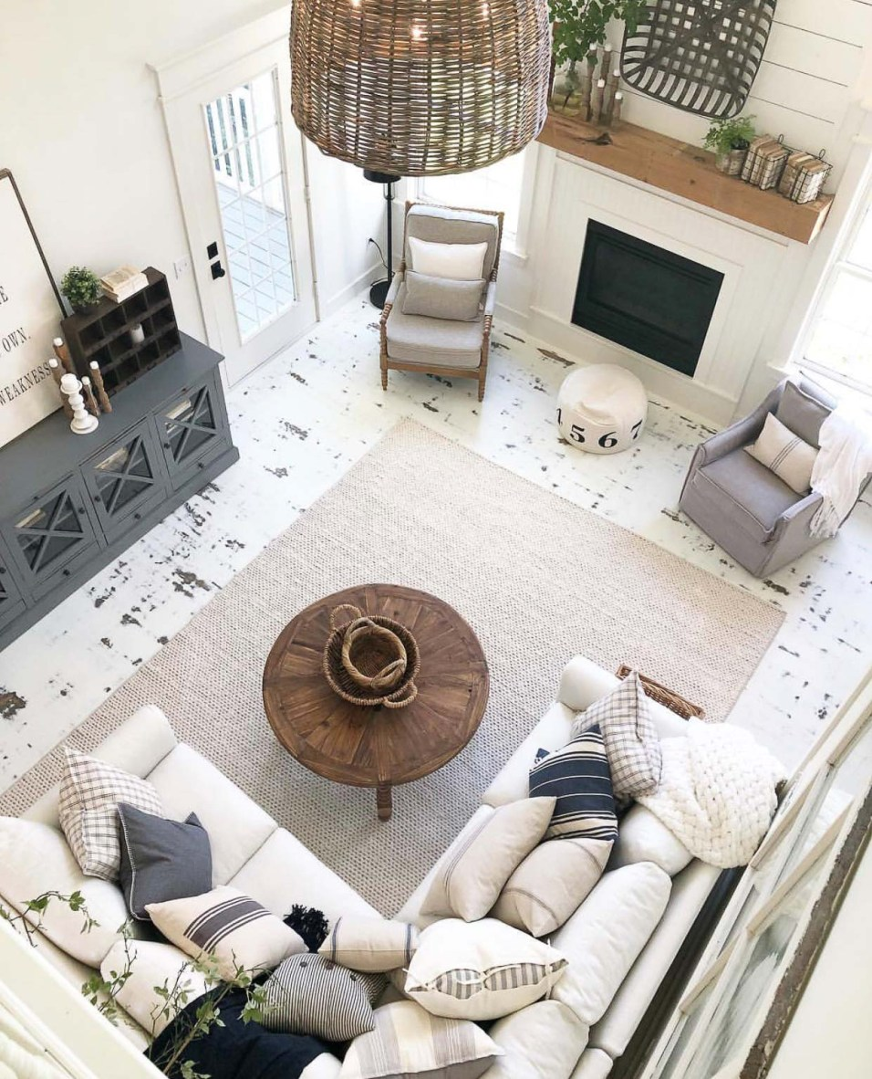 White Farmhouse Living Room with Painted Floors