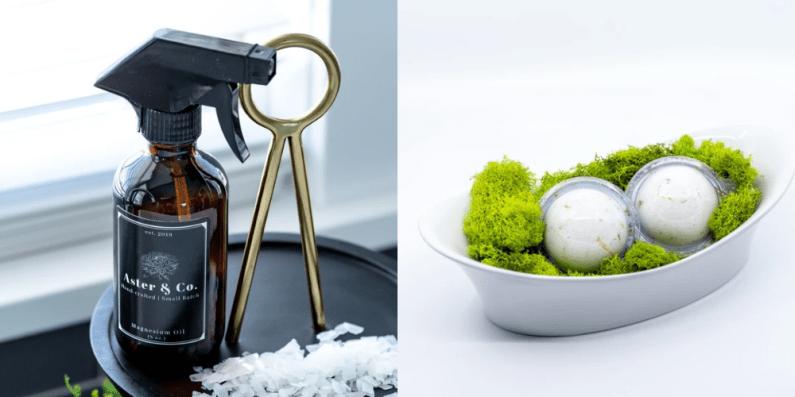magnesium oil and natural bath bomb