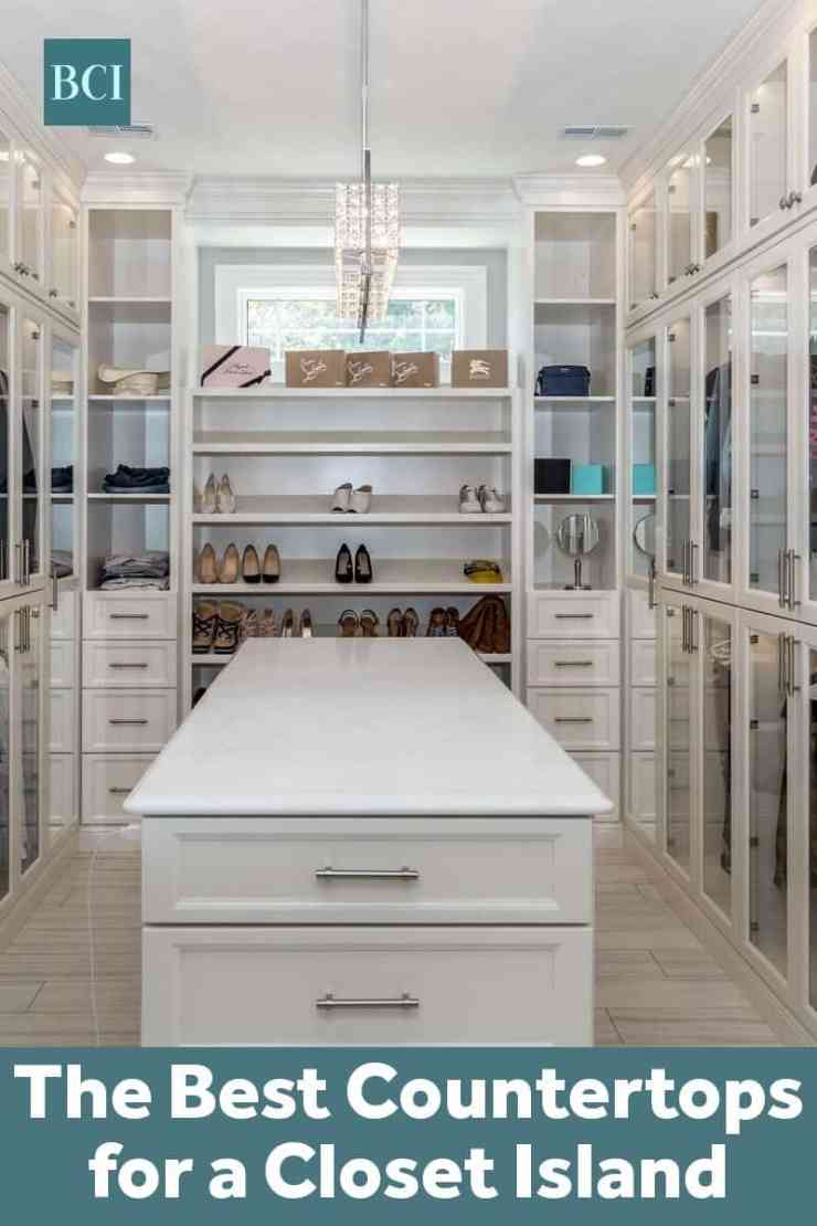 Photo collage of dressing room white cabinets and a closet island with a white countertop.