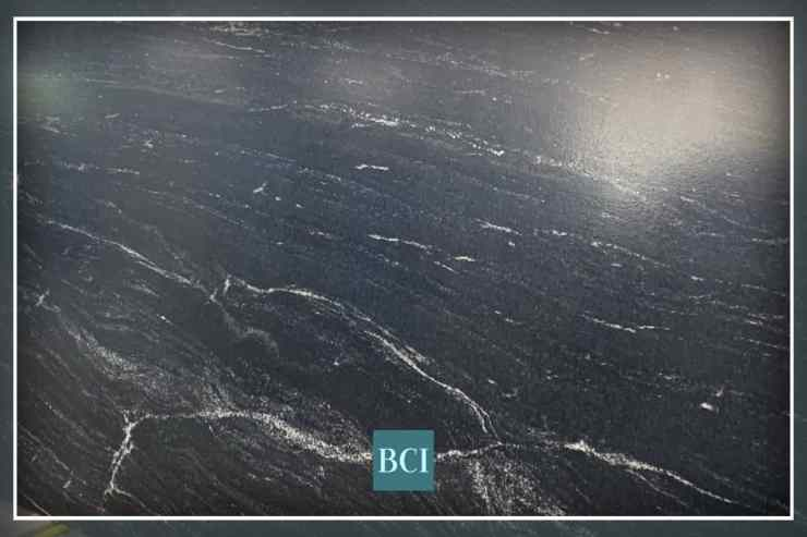 Photo of black granite that looks like soapstone, that is perfect for a kitchen or bath countertop.