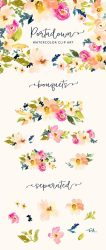 clip flower watercolor floral flowers clipart painted portadown creativemarket illustration wedding invitations hand graphic watercolors paint designs paintings watercolour painting