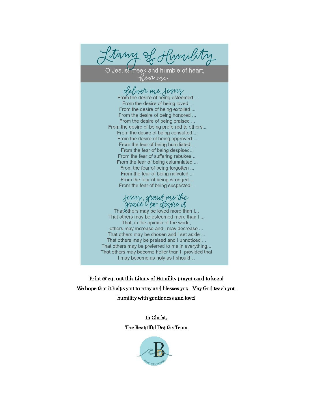 image relating to Litany of Humility Printable titled Dont Get hold of Me A Quitter Attractive Depths