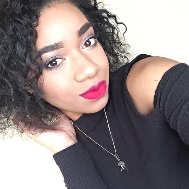 Subtle black smokey eye + classic red lip