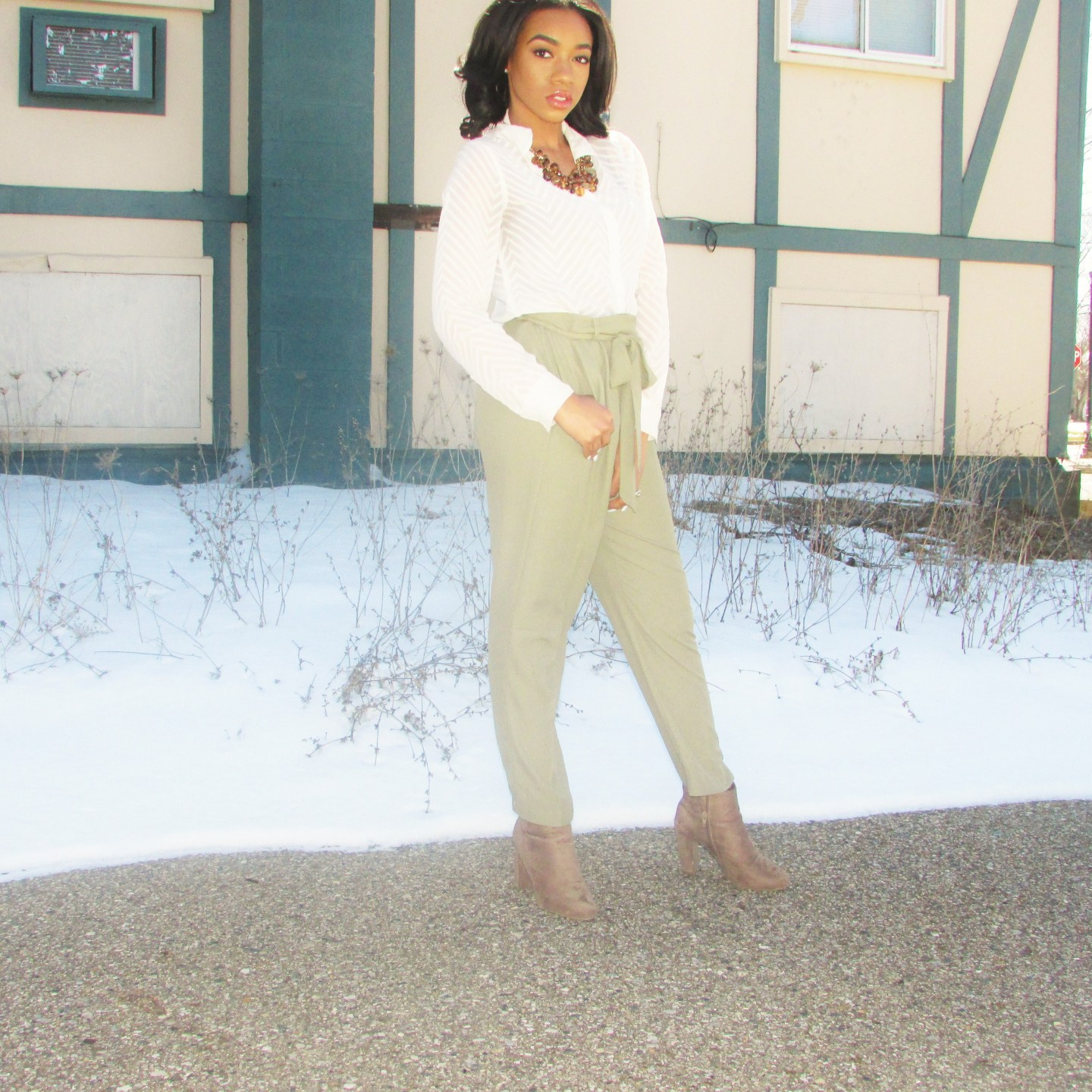 Olive Green Paper-bag  Trousers