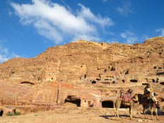 Camels and Petra's Royal Tombs - by Anika Mikkelson - Miss Maps - www.MissMaps.com