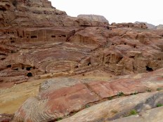 Petra's Ampitheater as seen from above - purposeful stairs mimic the stone's natural layers - by Anika Mikkelson - Miss Maps - www.MissMaps.com