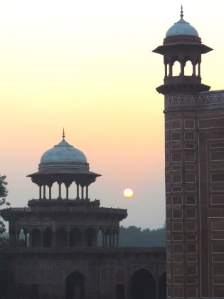 Sunset over the mosques of the Taj Mahal Agra, India - by Anika Mikkelson - Miss Maps