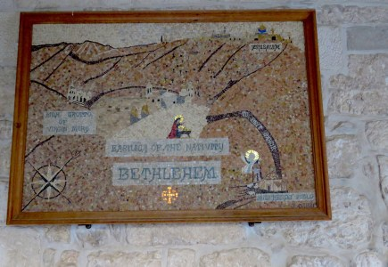 A Mosaic of Bethlehem hangs outside the Milk Grotto of Virgin Mary - by Anika Mikkelson - Miss Maps - www.MissMaps.com