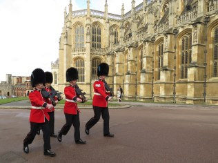 Guards on Patrol at St. George's Cathedral at Windsor Palace - Windsor, London, UK - by Anika Mikkelson - Miss Maps - www.MissMaps.com