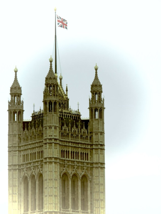 The British Flag over the Houses of Parliament - London, England, United Kingdom - by Anika Mikkelson - Miss Maps