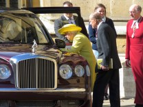 Queen Elizabeth and Prince Philip leave Easter Church Service with her newly gifted flowers - Windsor, London, UK - by Anika Mikkelson - Miss Maps