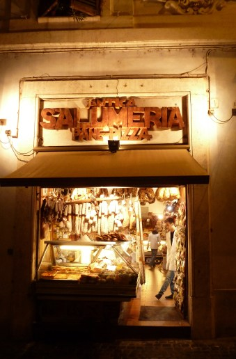 Salumeria at Night - Rome Italy - by Anika Mikkelson - Miss Maps - www.MissMaps.com