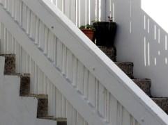 Slatted Stair Shadows - Reykjavik Iceland - by Anika Mikkelson - Miss Maps - www.MissMaps.com