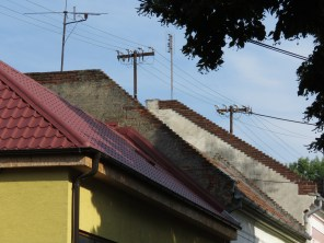 Rooftops and Cable Lines - Nitra Slovakia - by Anika Mikkelson - Miss Maps - www.MissMaps.com