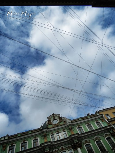 Crossed Wires in the Sky - St Petersburg Russia - by Anika Mikkelson - Miss Maps - www.MissMaps.com