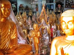 Golden Buddhas For Sale - Bangkok Thailand - by Anika Mikkelson - Miss Maps - www.MissMaps.com