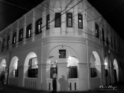 Corner Building in Black and White - Old Town Galle Sri Lanka - by Anika Mikkelson - Miss Maps - www.MissMaps.com