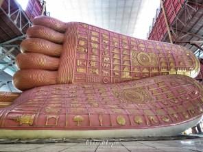Feet of the Reclining Buddha at The Chauk Htat Gyi Pagoda - Yangon Myanmar - by Anika Mikkelson - Miss Maps - www.MissMaps.com