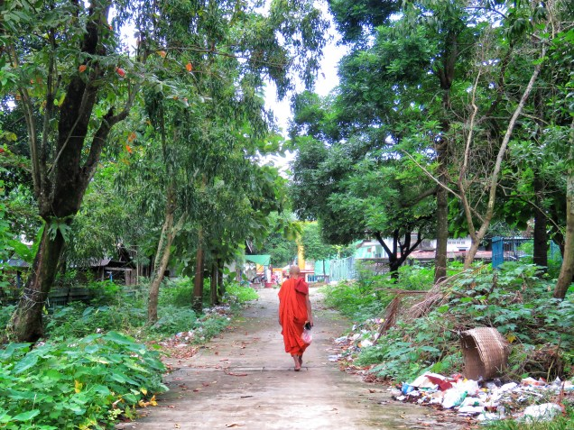 Monk in Vibrant Robes - Bago Myanmar - by Anika Mikkelson - Miss Maps - www.MissMaps.com copy
