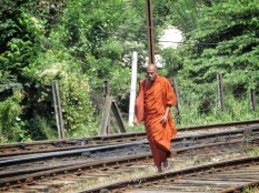 Monk Running Late to the Train - with a very determined look - Views from the Train - Train Ride Ella to Kandy Sri Lanka - by Anika Mikkelson - Miss Maps - www.MissMaps.com