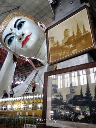 Reclining Buddha Then and Now at The Chauk Htat Gyi Pagoda - Yangon Myanmar - by Anika Mikkelson - Miss Maps - www.MissMaps.com