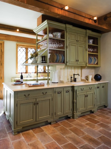 antique green kitchen cabinets Antique Sage Green Cabinets | Beautiful Homes Design