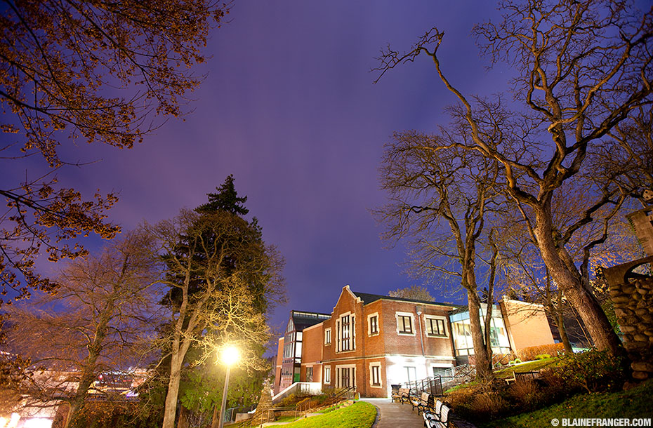 Hood River Library at night, copyright Blaine Franger