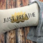 Just Breathe Lotus Cotton Canvas Natural Lumbar Pillow