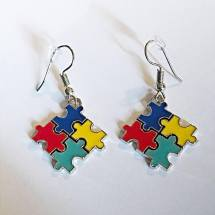 Autism Awareness Puzzle Piece Dangling Earrings