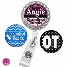 Personalized Occupational Therapist Retractable ID Badge Reel