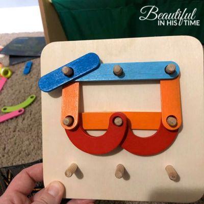 Coogam Wooden Letter Number Construction Puzzle Educational Stacking Blocks Toy Set Shape Color Sorter Pegboard Activity Board Sort Game for Kids Toddler Gift Preschool Learning STEM Toy