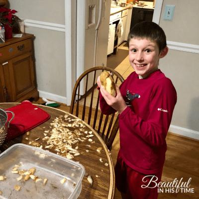 10 year old peeling potatoes