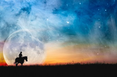 Horse and rider in a galaxy fantasy scene.