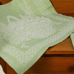 Green Kitchen Towels Cabinets For Sale By Owner Tessitura Pardi Cesto Basket Misto Linen Italian