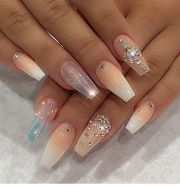 5 nail design with rhinestones