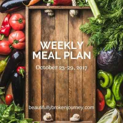 Weekly Meal Plan 10/23-10/29/2017